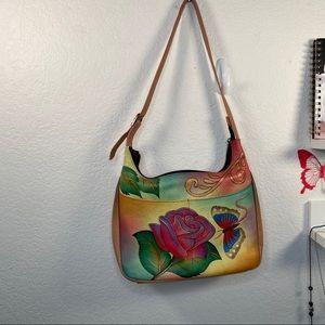 Anuschka Leather Rose  Shoulder Bag